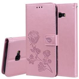 Rose reliëf horizontaal spiegelen PU lederen Case voor Samsung Galaxy J4 Plus  met houder & kaartsleuven & portemonnee (Rose goud)
