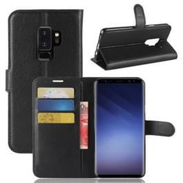 Voor Galaxy S9 PLUS Litchi textuur horizontaal flip lederen draagtas met houder & portemonnee & kaart van Slots(Black)