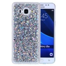 Voor Galaxy J5 (2016) Glitter poeder zachte TPU beschermhoes (zilver)