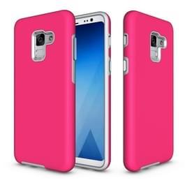 Voor Galaxy A8 (2018) Cover antislip Armor textuur TPU + PC beschermende hoes terug Shell(Magenta)