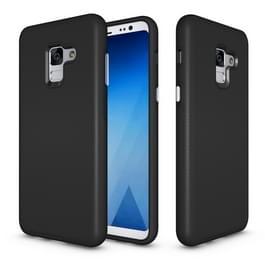 Voor Galaxy A8 PLUS (2018) antislip Armor textuur TPU + PC beschermende Case Back Cover Shell(Black)
