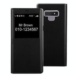 Litchi textuur PU + PC horizontale Flip lederen Case voor Galaxy Note 9 met oproep Display ID(Black)