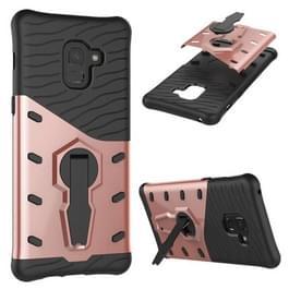 Voor Galaxy A8 PLUS (2018) terug PC + TPU Dropproof Sniper hybride beschermende Case met 360 graden rotatie houder (Rose goud)