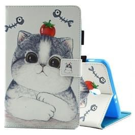 Voor Galaxy Tab een 8.0 / T380 & T385 tomaat en kat patroon horizontaal flip lederen draagtas met houder & kaartsleuven