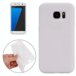 Samsung Galaxy S7 / G930 horizontaal TPU Flip Hoesje met transparant kunststof Touch cover Wit