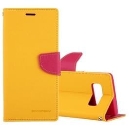 MERCURY GOOSPERY FANCY dagboek voor Galaxy Note 8 Kruis textuur horizontale Flip lederen draagtas met kaartsleuven & portemonnee & Holder(Yellow)