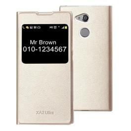 Voor Sony Xperia XA2 Ultra Litchi textuur horizontale Flip lederen draagtas met oproep Display ID (goud)