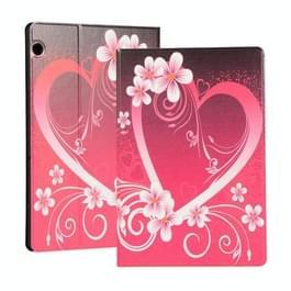 Voor Huawei T5 10 1 inch geschilderd patroon links en rechts open platte beugel lederen tas (liefde)