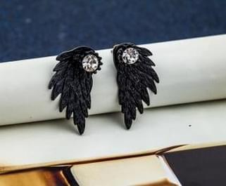 Sieraden Oorbellen Gothic cool Angel Wing Strass legering oorbellen voor vrouwen (zwart)