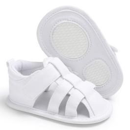 Baby zachte onderkant canvas peuter schoenen ademend sandalen  grootte: 11cm (wit)