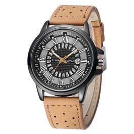 1424 JIAYUYAN Quartz Wrist Watch with Calendar & Leather Strap/Band & Alloy Case  Watch For Man (Brown)
