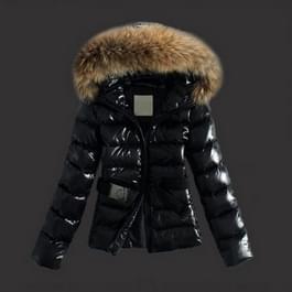 Vrouwen Winter elegante grote bont kraag Hat verdikking slanke kort donsjack houd Warm neer katoen jas bovenkleding  grootte: L(Black)