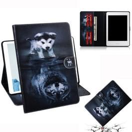 Wolf en hond patroon horizontale Flip lederen case voor Amazon Kindle Paperwhite 4 (2018)/3/2/1  met houder & Card slot & portemonnee
