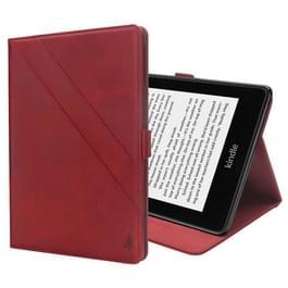 Horizontale Flip dubbele houder Leather Case for Amazon Kindle Paperwhite 4 (2018)  met-kaartsleuven & fotolijstjes (rood)