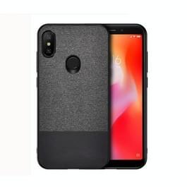 Schokbestendige splicing PU + doek beschermhoes voor Xiaomi Redmi 6 Pro (zwart)