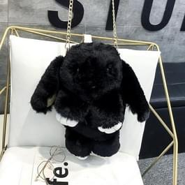 Schattig dode konijn pluche keten-riem schoudertas Crossbody tas (zwart)