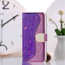 Laser glitter poeder bijpassende krokodil textuur horizontale Flip lederen case voor Galaxy A30/A20  met kaartsleuven & houder (paars)