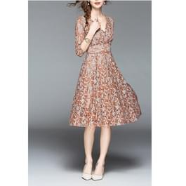 Kanten slanke jurk met V-hals in de taille (kleur: karamel maat: S)