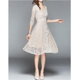 Kanten slanke jurk met V-hals in de taille (kleur: kaki maat: M)