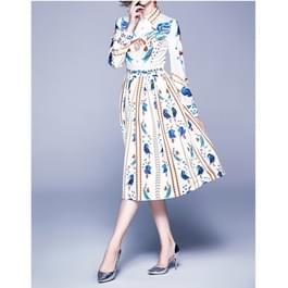 Elegante retro print grote Swing jurk (kleur: als Toon grootte: XL)