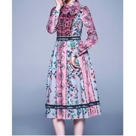 Elegante retro print grote Swing jurk (kleur: als Toon grootte: L)