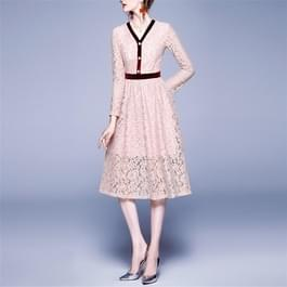 Mode Vintage elegante Lace stiksels jurk (kleur: roze maat: S)