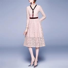 Mode Vintage elegante Lace stiksels jurk (kleur: roze maat: M)