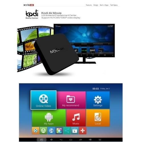 MXQ 4K Full HD Media speler RK3229 Quad Core KODI Android