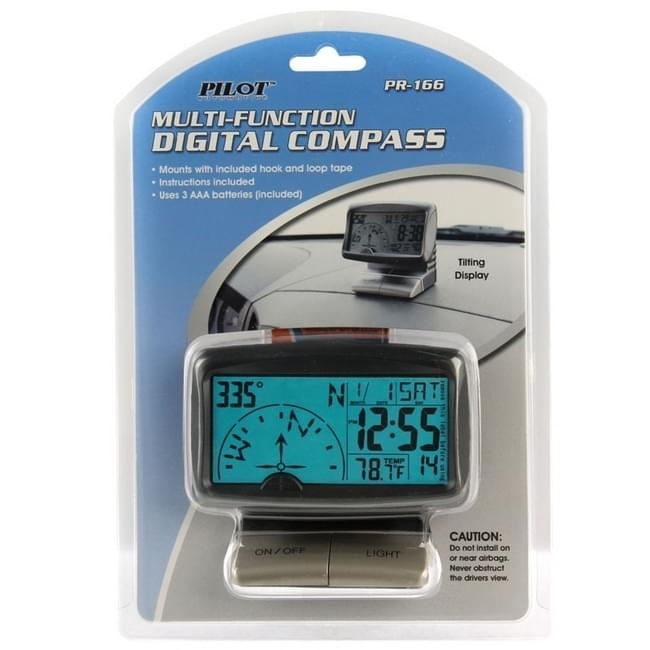 Pilot Automotive PR-166 Digital Multi-Function Compass 1 Pack
