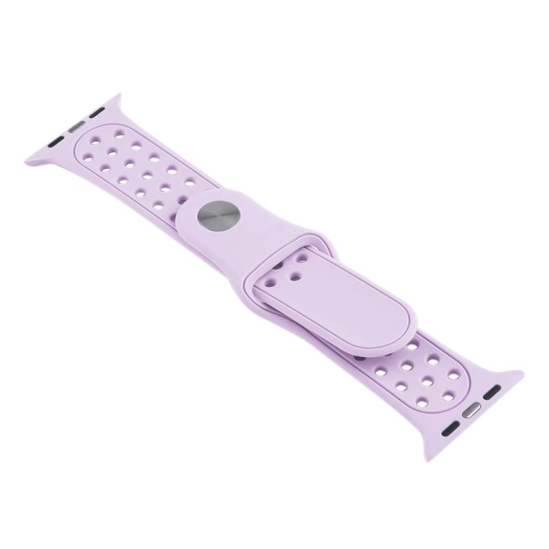 Afbeelding van Voor de Apple Watch Sport 42 mm holle stijl High-performance Rubber Sport horlogeband met Pin-en-tuck sluiting (lichtlila)