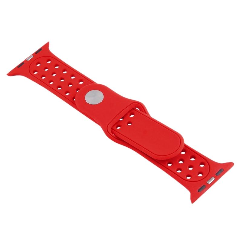 Afbeelding van Voor de Apple Watch Sport 42mm holle stijl High-performance Rubber Sport horlogeband met Pin-en-tuck Closure(Red)