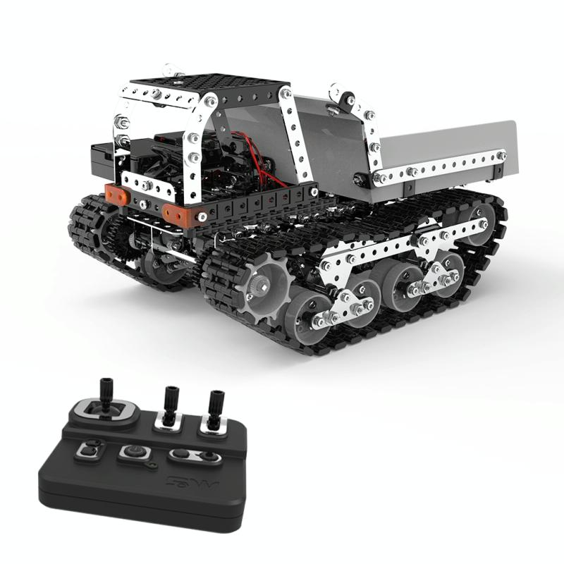 MoFun SW(RC)-007 2.4G Wireless Remote Control 10-channel Dump Truck Children DIY Stainless Steel Assembled Toy