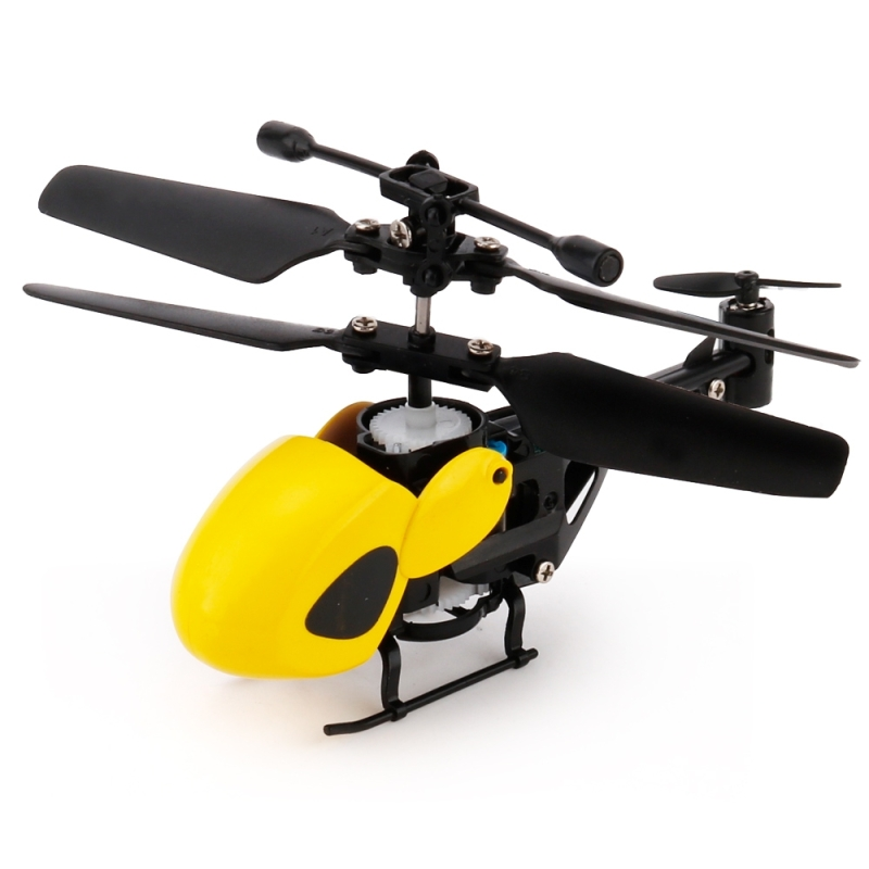 QINSONG QS5012 2CH Infrared Mini RC Helicopter  Size: 9cm x 5cm x 2cm (Yellow)