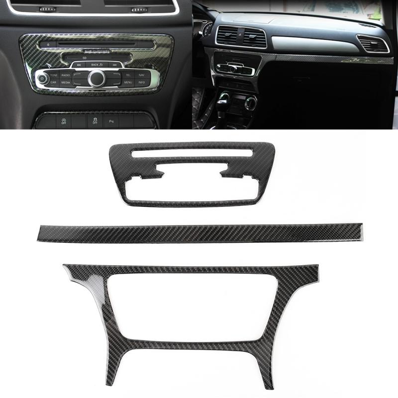 Afbeelding van 3 stuks Carbon Fiber auto CD centrale bedieningspaneel decoratieve sticker voor Audi Q3