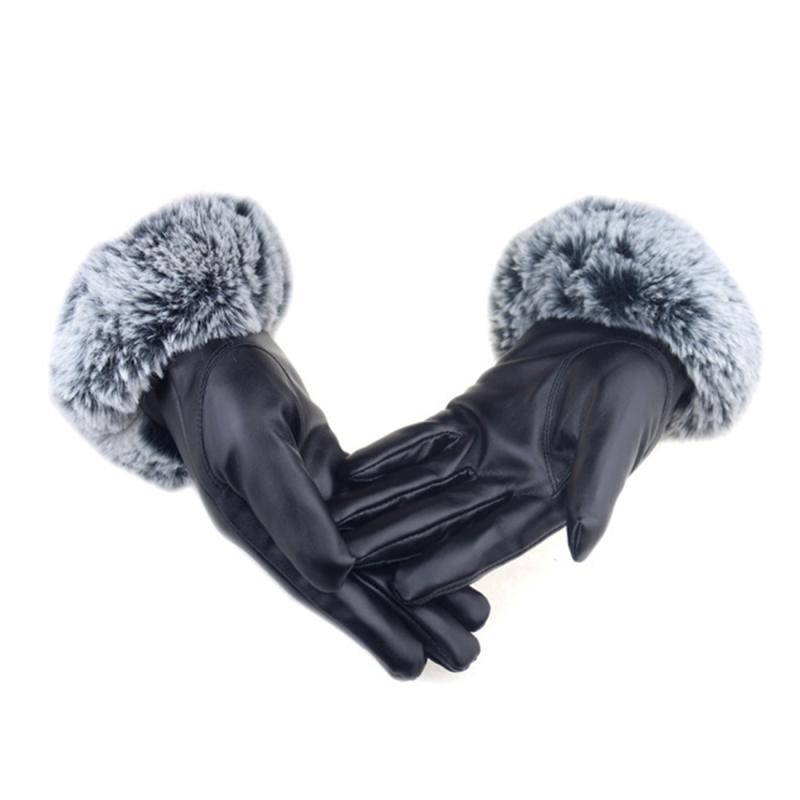 Afbeelding van Winter Touch Screen handschoenen dames handschoenen Rex konijn haar simulatie U-vormige haar PU leer paardrijden warme handschoenen