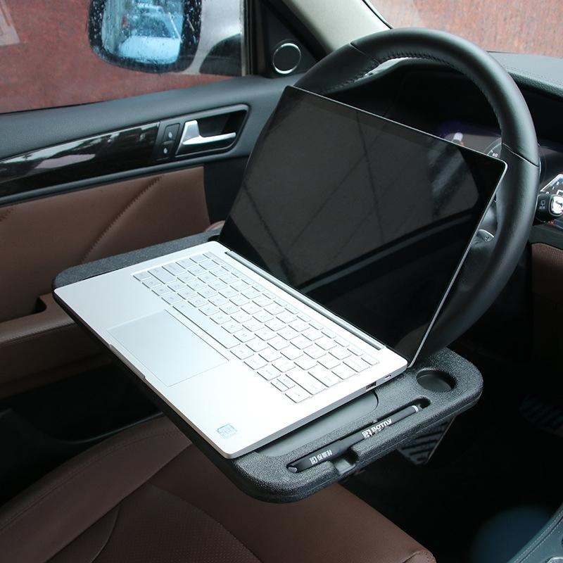 Afbeelding van Multi-functionele auto stuurwiel Computer kaart tabel vak auto lade Desktop Computer Desk auto Laptop tabel eettafel plat Bureau Auto Accessories(Black)