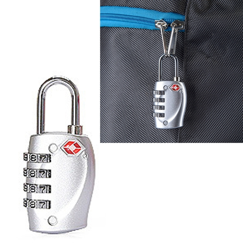 Afbeelding van TSA combinatie 4 cijfers bagage reizen koffer veiligheid hangslot Lock kabel Lock douane TSA Bagage metalen Lock Password Lock anti-diefstal draad Lock(Silver)