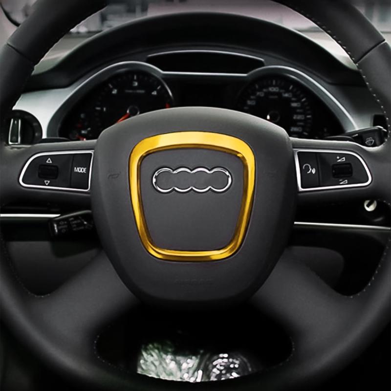 Afbeelding van Auto Auto stuurwiel decoratieve Ring Cover Trim Sticker decoratie voor Audi (goud)