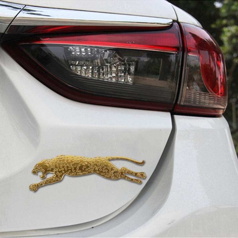 Afbeelding van Gratis auto-Sticker(Gold) van de Leopard vorm-Adoreable stijl uitgevoerd