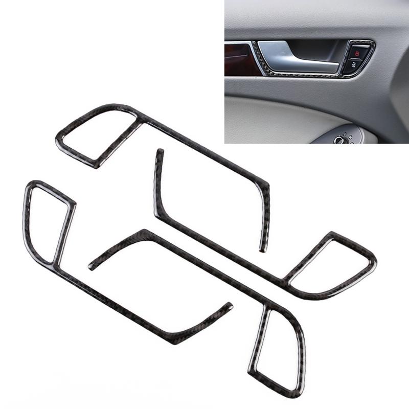 Afbeelding van 4 stuks auto Carbon Fiber innerlijke armsteun cover decoratieve sticker voor Audi A4