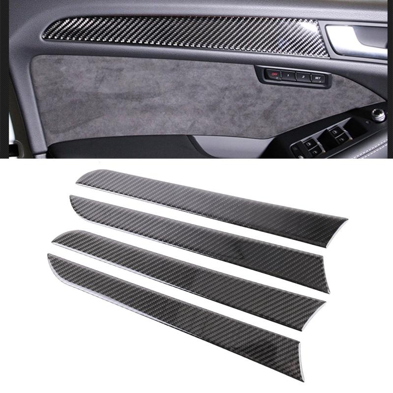 Afbeelding van 4 stuks auto Carbon Fiber binnenste deurpaneel decoratieve sticker voor Audi A4L/A5/Q5