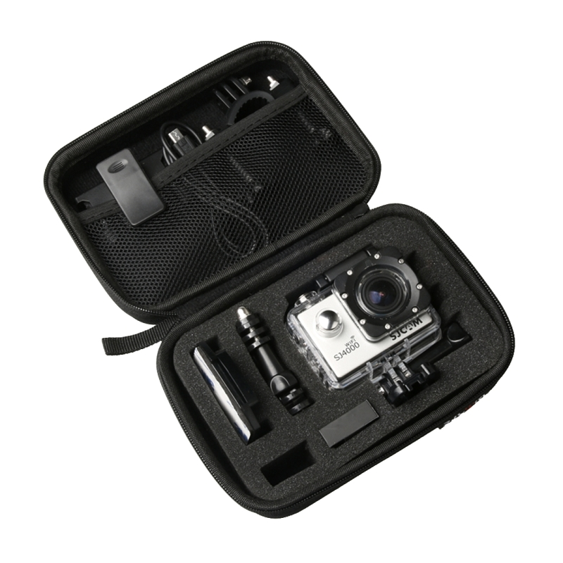 Duurzame Schokbestendige Camera Tas Opbergkoffer voor SJCAM SJ4000 / SJ5000 / SJ6000 / SJ7000 / SJ8000 / SJ9000 Sport Actie Camera & Selfie Stick plus andere Accessoires, Afmetingen: 16 x 12 x 6 cm