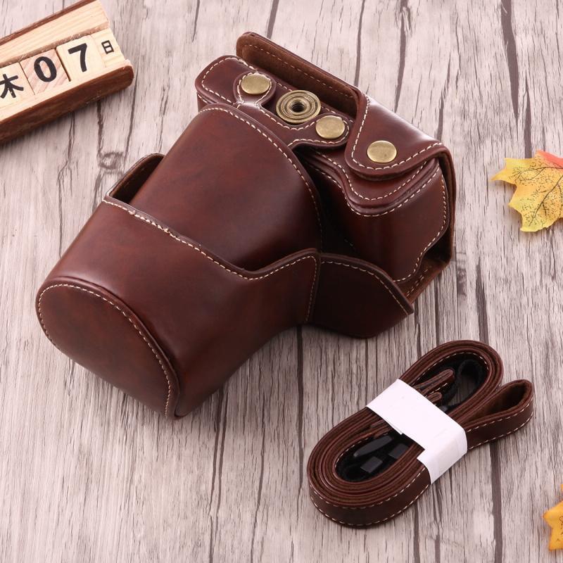 Full Body Camera PU lederen Case tas met riem voor Canon EOS M3 (koffie)
