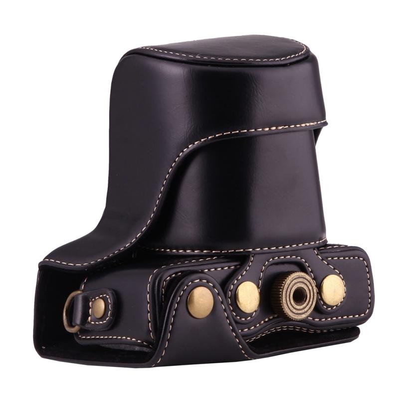 Full Body Camera PU lederen Case tas met riem voor Canon EOS M10 (zwart)