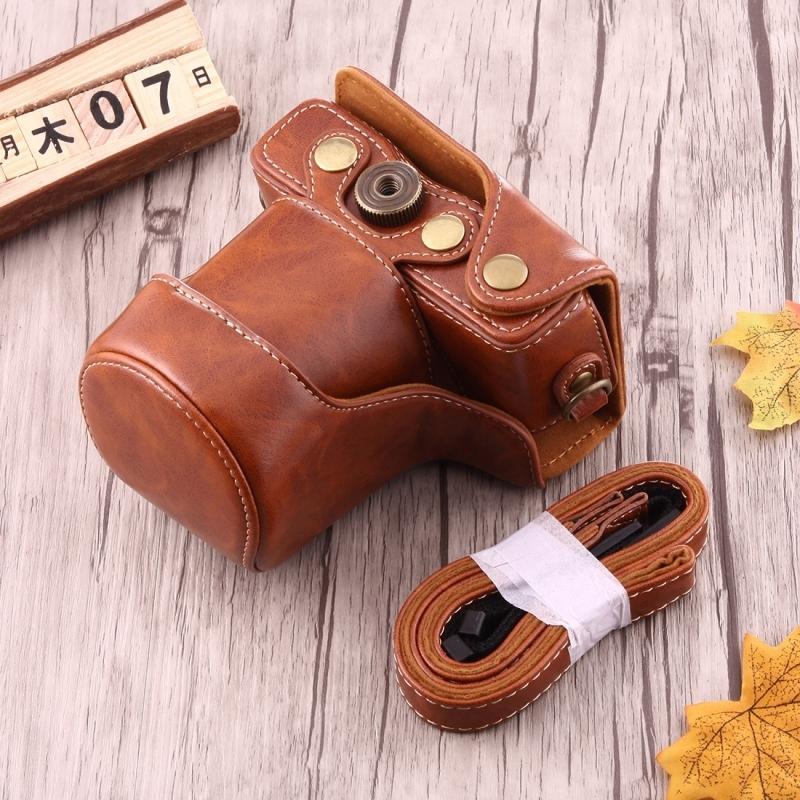 Full Body Camera PU lederen Case tas met riem voor Canon EOS M10 (bruin)