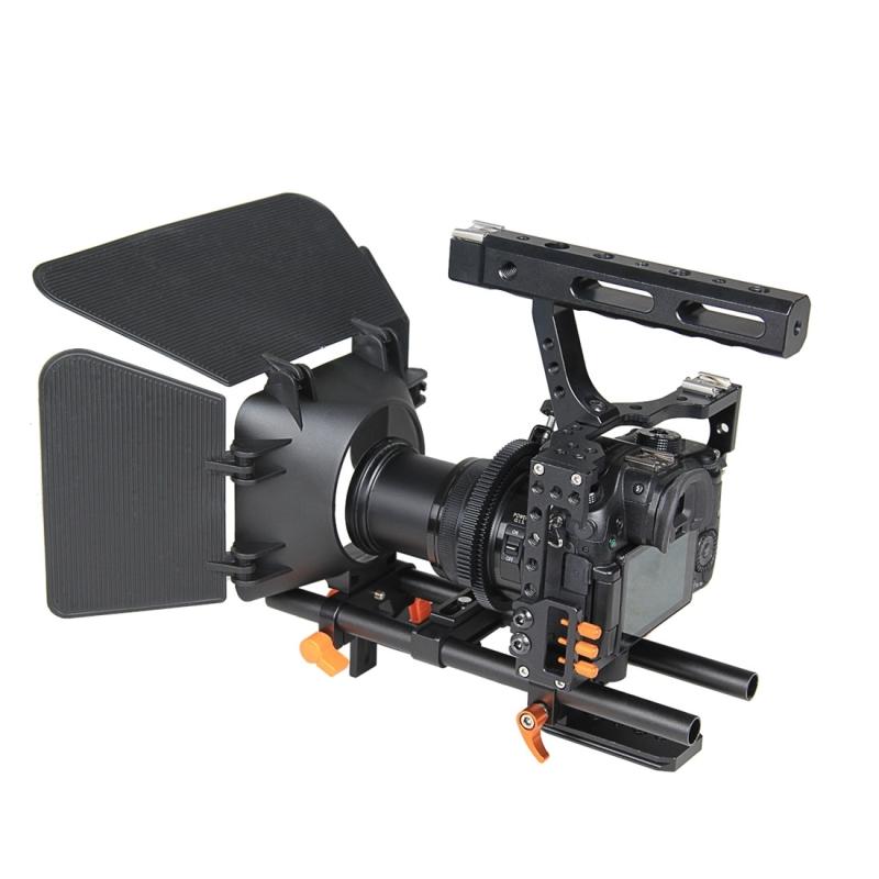 YELANGU YLG1105A A7 Video Camera Kooi Set inclusief Stabilisator / Volg Focus / Matte Box voor Sony A7S / A7 / A7R / A7RII /  A7SII / Panasonic Lumix GH4 (Oranje)