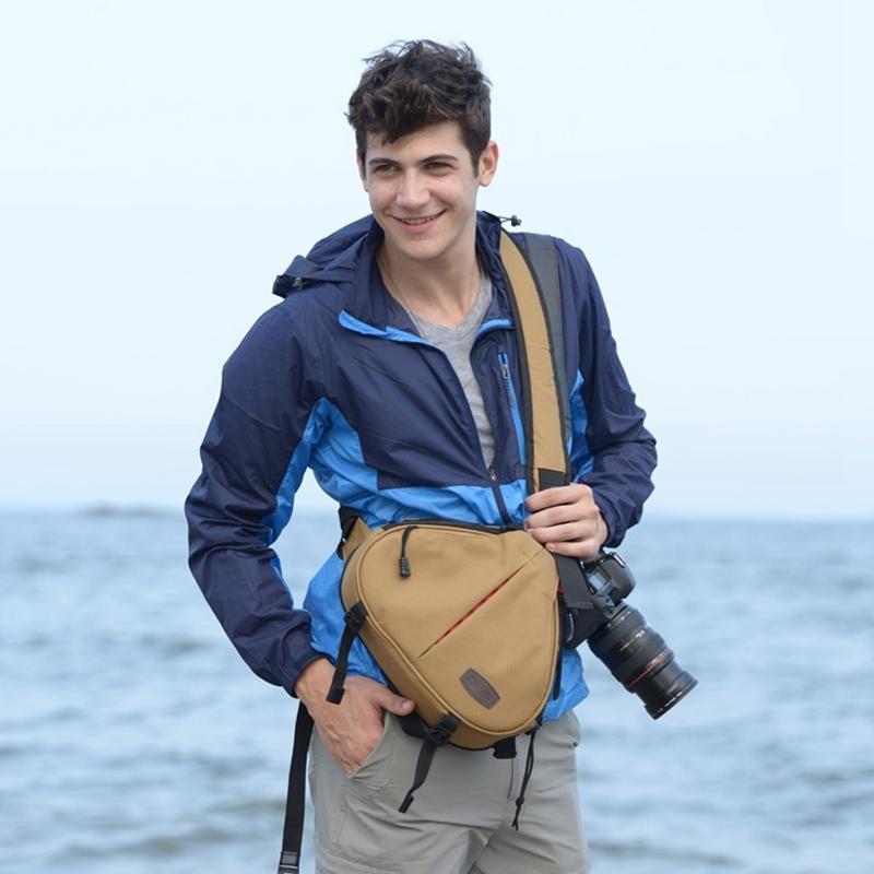 CADEN driehoek vorm Tscope slinger Cross Digitale Camera schoudertassen hoesje zachte tas met regen dekken voor Canon Nikon Sony K1 Afmeting: 36*31*15cm(Khaki)