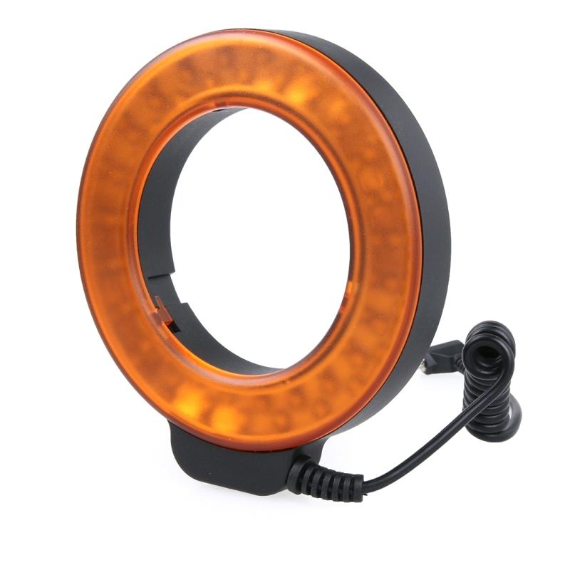 Cirkelvormige 48 LED Flitser & 6 Adapter Ringen (49mm/52mm/55mm/58mm/62mm/67mm) voor Macro Lens (Oranje)