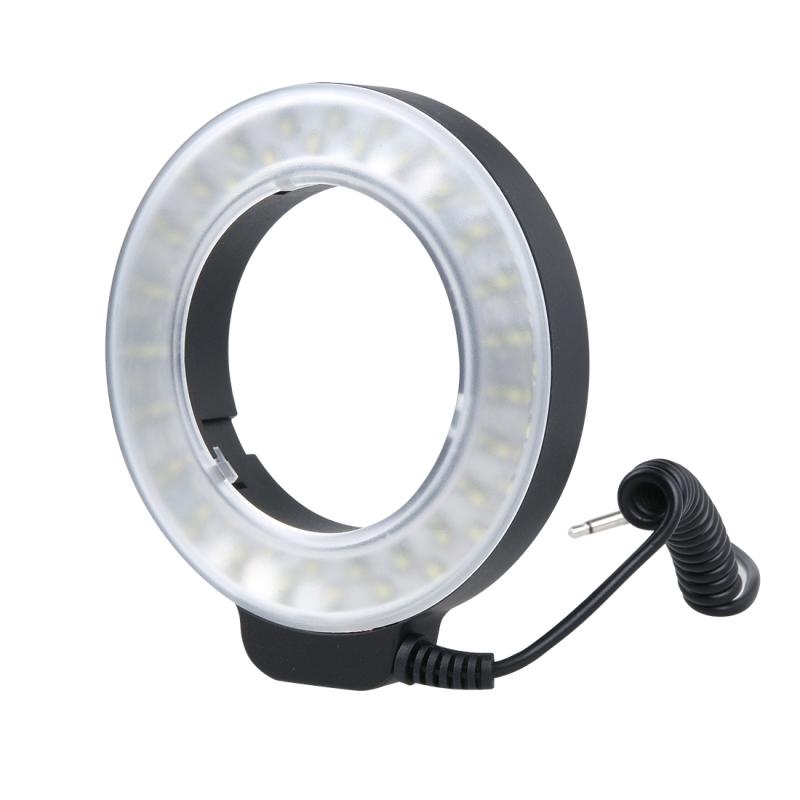 Cirkelvormige 48 LED Flitser & 6 Adapter Ringen (49mm/52mm/55mm/58mm/62mm/67mm) voor Macro Lens wit