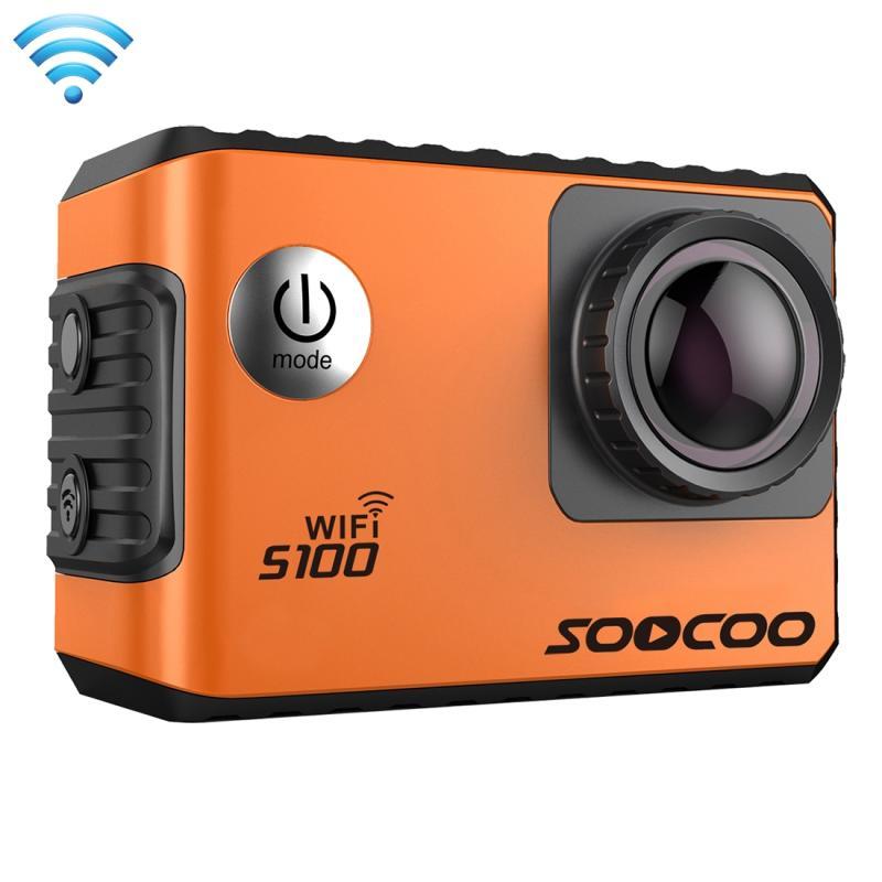 SOOCOO S100 2.0 inch scherm 4 K 170 graden breed hoek WiFi Sport actie Camera Camcorder ontmoet huisvesting Waterdicht hoesje, ondersteuning van 64 GB Micro SD kaart & Diving modus & stem Prompt & Anti-Shake & HDMI Output(Oranje)